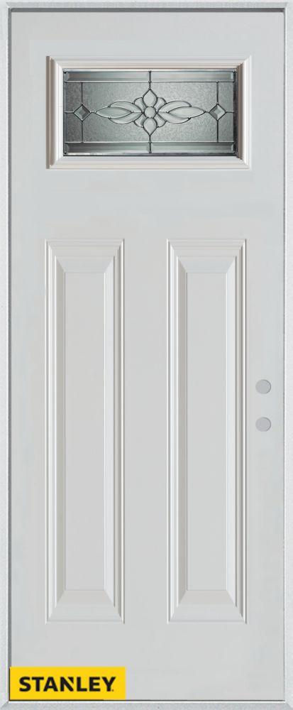 32-inch x 80-inch Victoria Classic Rectangular Lite 2-Panel White Steel Entry Door with Left Insw...