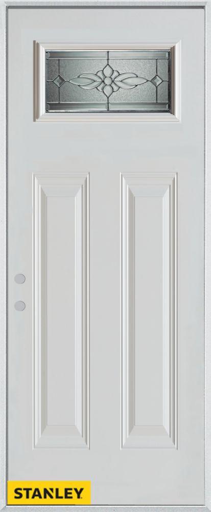 Porte dentrée en acier préfini blanc, munie de deux panneaux et d'un verre zinc rectangulaire, 32...