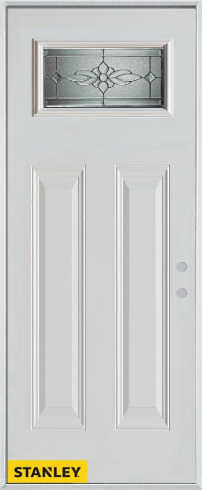 34-inch x 80-inch Victoria Classic Rectangular Lite 2-Panel White Steel Entry Door with Left Insw...