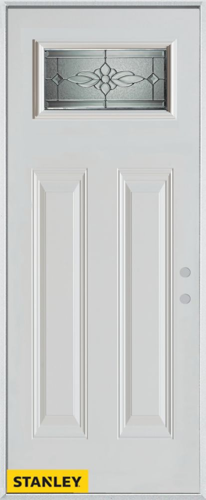36-inch x 80-inch Victoria Classic Rectangular Lite 2-Panel White Steel Entry Door with Left Insw...