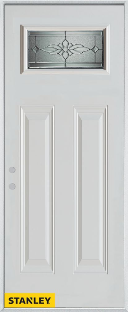 Porte dentrée en acier préfini blanc, munie de deux panneaux et d'un verre zinc rectangulaire, 36...