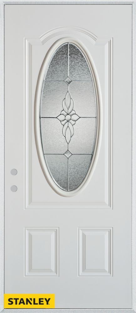 32-inch x 80-inch Victoria Classic Zinc Oval Lite 2-Panel White Steel Entry Door with Right Inswi...