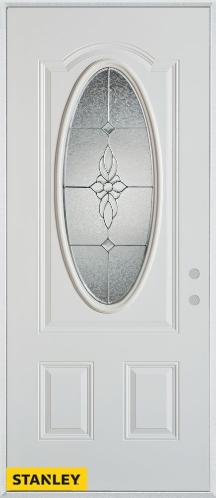 36-inch x 80-inch Victoria Classic Zinc Oval Lite 2-Panel White Steel Entry Door with Left Inswin...