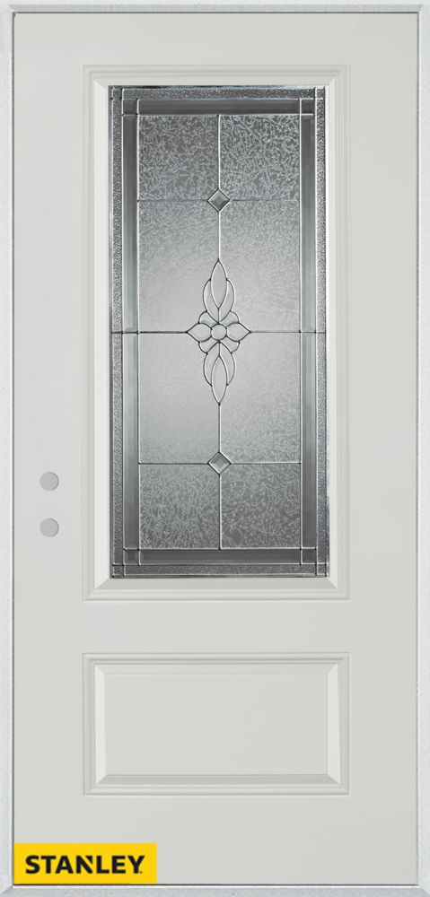32-inch x 80-inch Victoria Classic Zinc 3/4-Lite 1-Panel White Steel Entry Door with Right Inswin...