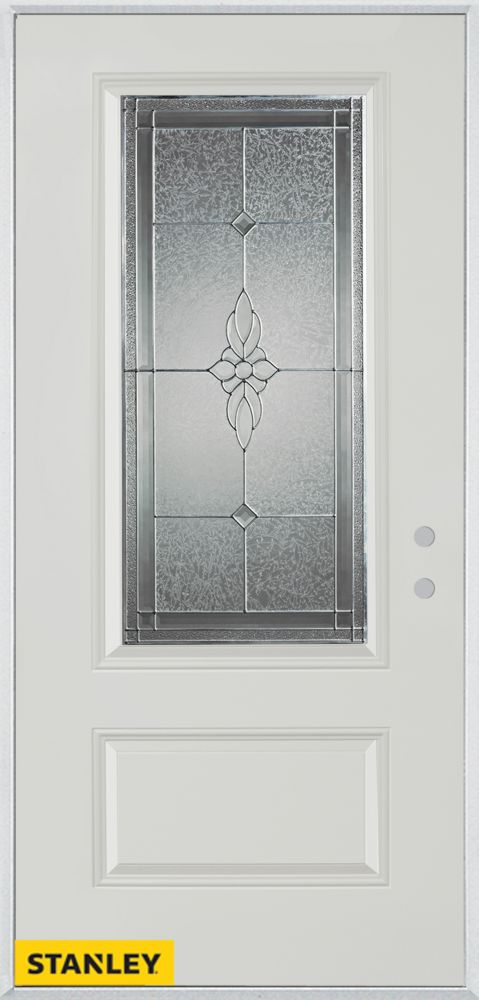 36-inch x 80-inch Victoria Classic Zinc 3/4-Lite 1-Panel White Steel Entry Door with Left Inswing