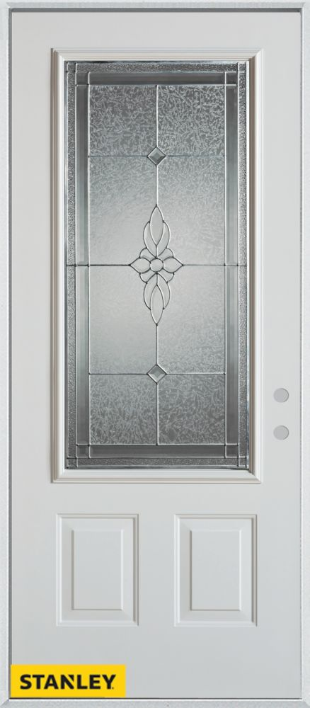 32-inch x 80-inch Victoria Classic Zinc 3/4-Lite 2-Panel White Steel Entry Door with Left Inswing
