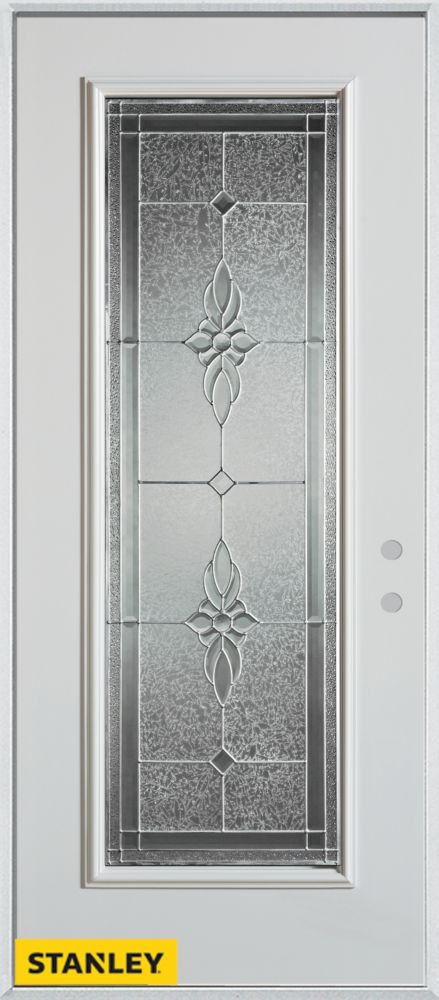 32-inch x 80-inch Victoria Classic Zinc Full Lite White Steel Entry Door with Left Inswing