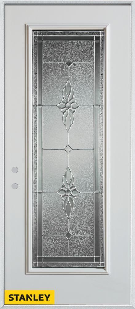 Porte dentrée en acier préfini blanc, munie d'un panneau de verre zinc, 32 po x 80 po - Droite