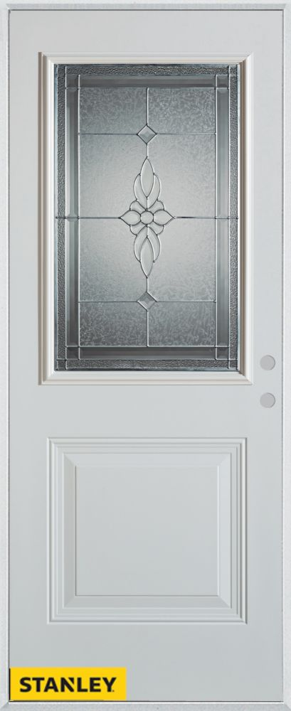 32-inch x 80-inch Victoria Classic Zinc 1/2-Lite 1-Panel White Steel Entry Door with Left Inswing