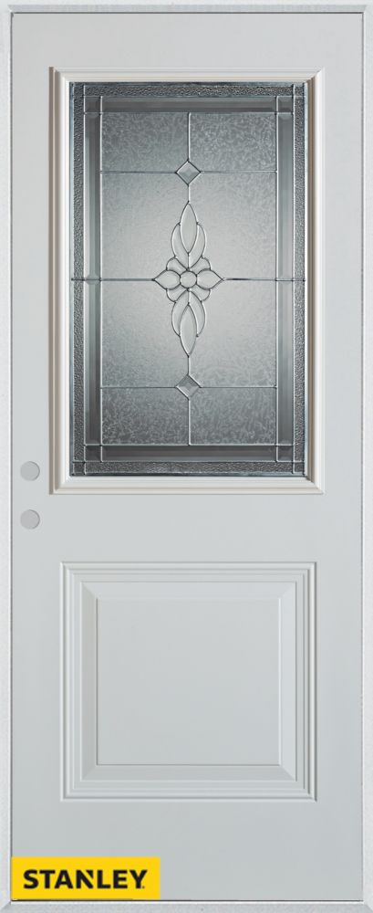 32-inch x 80-inch Victoria Classic Zinc 1/2-Lite 1-Panel White Steel Entry Door with Right Inswin...