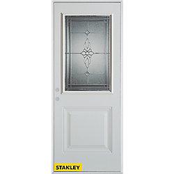 Stanley Doors Porte dentrée en acier préfini blanc, munie d'un panneau et dun 1/2 verre zinc, 34 po x 80 po - Droite - ENERGY STAR®