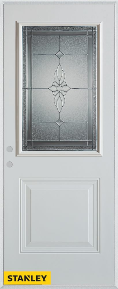 34-inch x 80-inch Victoria Classic Zinc 1/2-Lite 1-Panel White Steel Entry Door with Right Inswin...