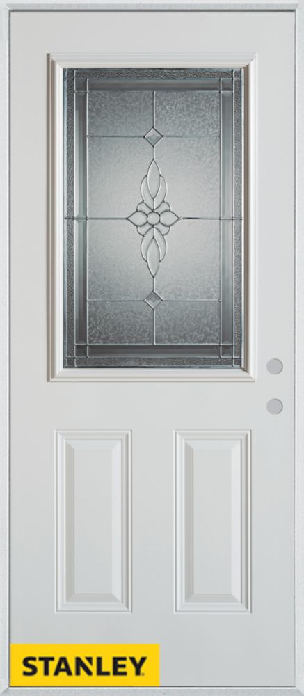 32-inch x 80-inch Victoria Classic Zinc 1/2-Lite 2-Panel White Steel Entry Door with Left Inswing