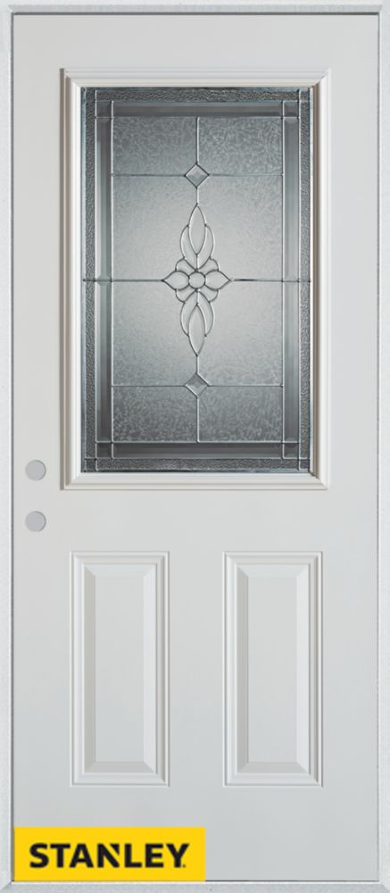 34-inch x 80-inch Victoria Classic Zinc 1/2-Lite 2-Panel White Steel Entry Door with Right Inswin...