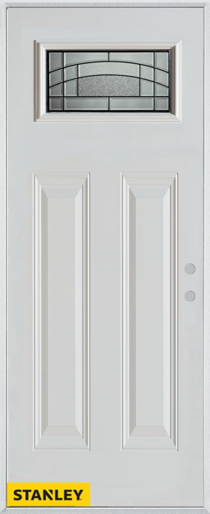 36-inch x 80-inch Chatham Patina Rectangular Lite 2-Panel White Steel Entry Door with Left Inswin...