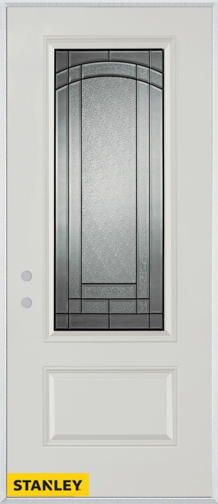 Porte dentrée en acier préfini blanc, munie d'un panneau et dun 3/4 verre, 34 po x 80 po - Droite