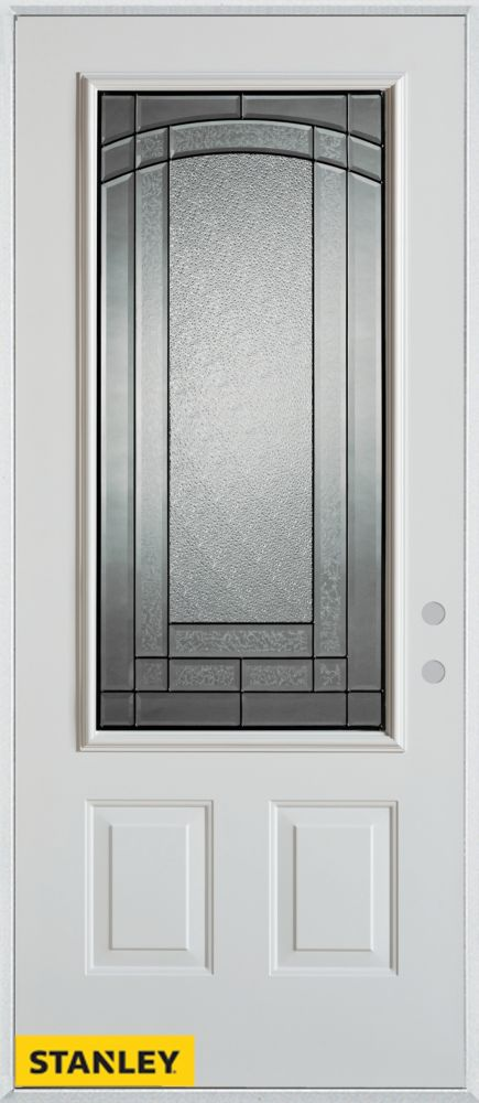 32-inch x 80-inch Chatham Patina 3/4-Lite 2-Panel White Steel Entry Door with Left Inswing
