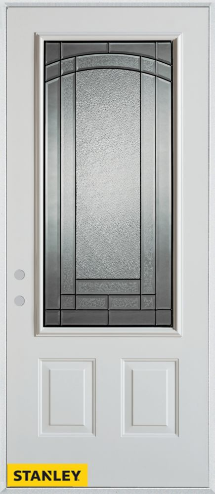 33.375 inch x 82.375 inch Chatham Patina 3/4 Lite 2-Panel Prefinished White Right-Hand Inswing Steel Prehung Front Door - ENERGY STAR®
