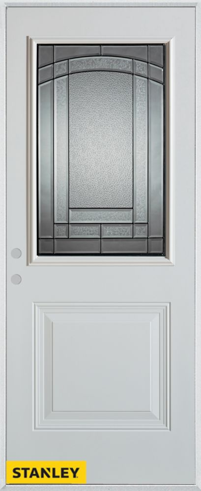 36-inch x 80-inch Chatham Patina 1/2-Lite 1-Panel White Steel Entry Door with Right Inswing