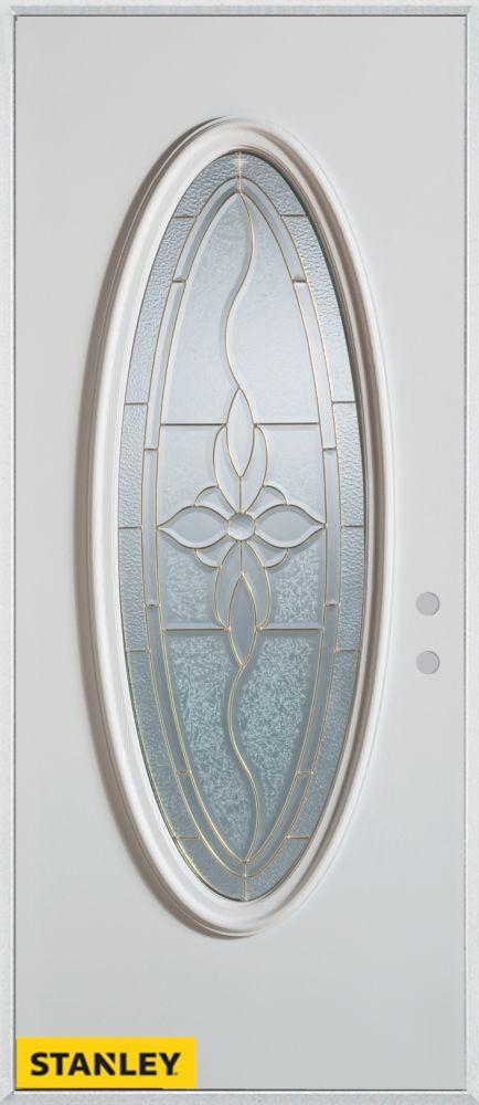Porte dentrée en acier préfini blanc, munie dun verre patina ovale, 32 po x 80 po - Gauche