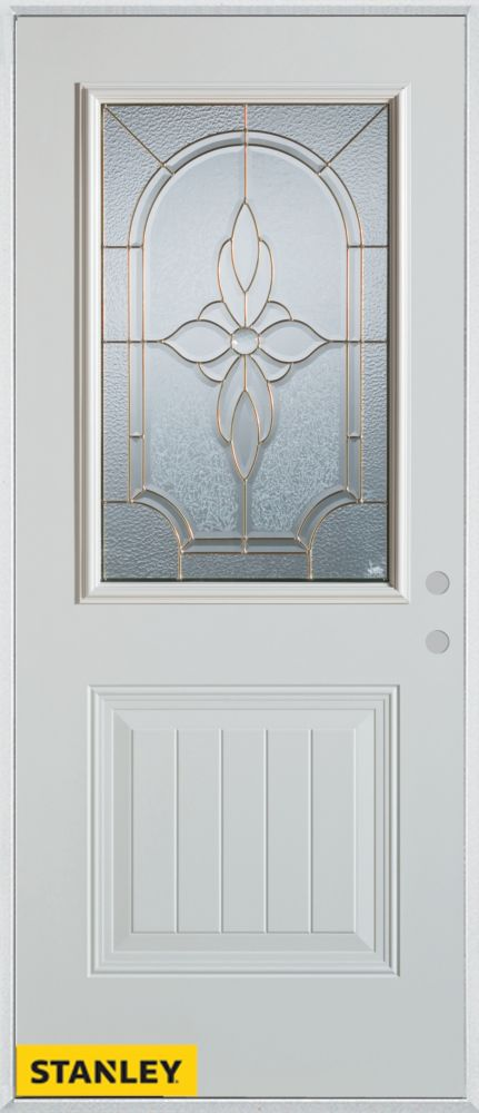 Stanley Doors 35.375 inch x 82.375 inch Trellis Zinc 1/2 Lite 1-Panel Prefinished White Left-Hand Inswing Steel Prehung Front Door - ENERGY STAR®