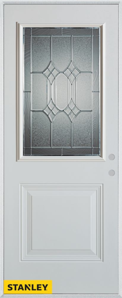 Stanley Doors 37.375 inch x 82.375 inch Orleans Patina 1/2 Lite 1-Panel Prefinished White Left-Hand Inswing Steel Prehung Front Door - ENERGY STAR®