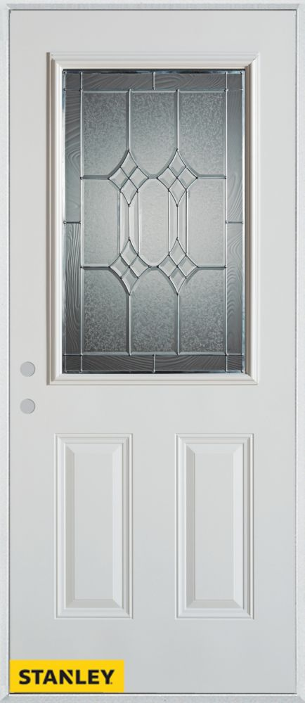 Stanley Doors 33.375 inch x 82.375 inch Orleans Patina 1/2 Lite 2-Panel Prefinished White Right-Hand Inswing Steel Prehung Front Door - ENERGY STAR®