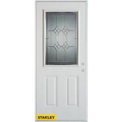 STANLEY Doors Porte dentrée en acier préfini blanc, munie de deux panneaux et dun 1/2 verre patina, 36 po x 80 po - Gauche - ENERGY STAR®