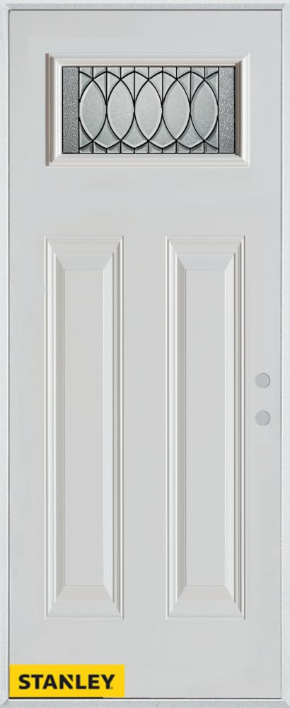 34-inch x 80-inch Nightingale Rectangular Lite 2-Panel White Steel Entry Door with Left Inswing