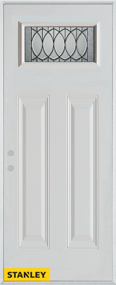 Porte dentrée en acier préfini blanc, munie de deux panneaux et d'un verre rectangulaire, 34 po x...