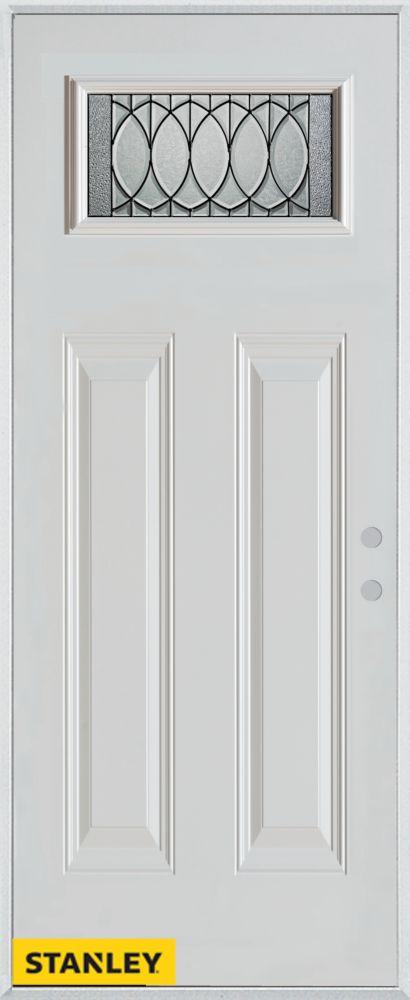 Porte dentrée en acier préfini blanc, munie de deux panneaux et d'un verre rectangulaire, 36 po x...