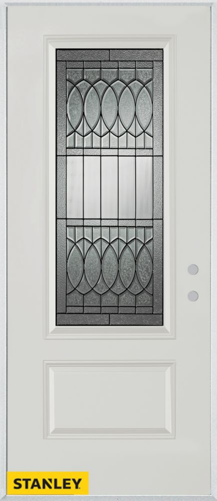 32-inch x 80-inch Nightingale Patina 3/4-Lite 1-Panel White Steel Entry Door with Left Inswing