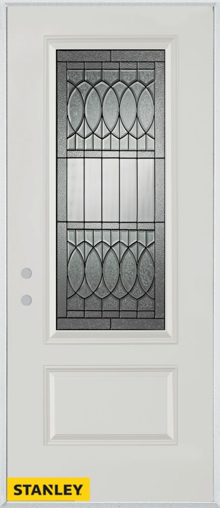 34-inch x 80-inch Nightingale Patina 3/4-Lite 1-Panel White Steel Entry Door with Right Inswing