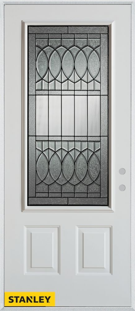32-inch x 80-inch Nightingale Patina 3/4-Lite 2-Panel White Steel Entry Door with Left Inswing