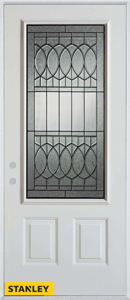 34-inch x 80-inch Nightingale Patina 3/4-Lite 2-Panel White Steel Entry Door with Right Inswing