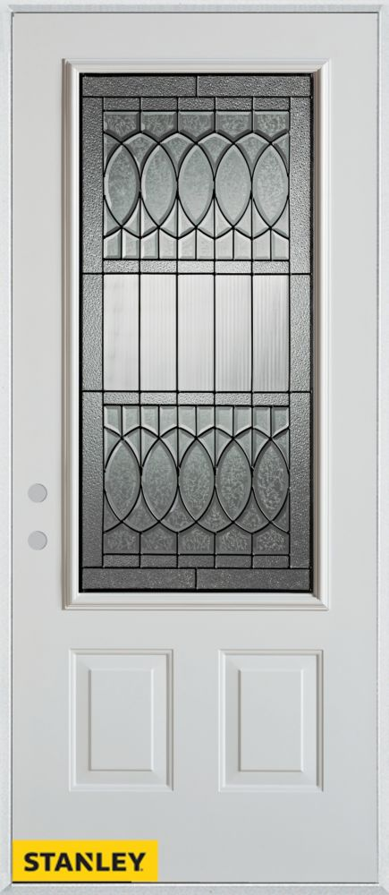36-inch x 80-inch Nightingale Patina 3/4-Lite 2-Panel White Steel Entry Door with Right Inswing