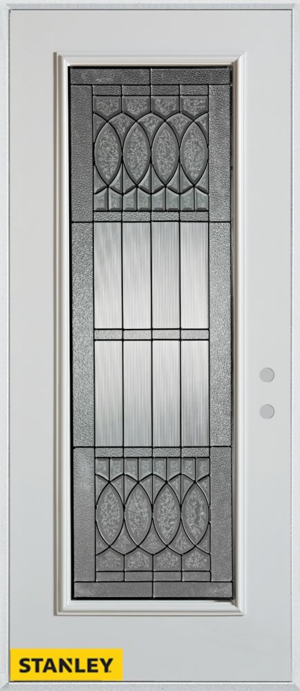 32-inch x 80-inch Nightingale Patina Full Lite White Steel Entry Door with Left Inswing