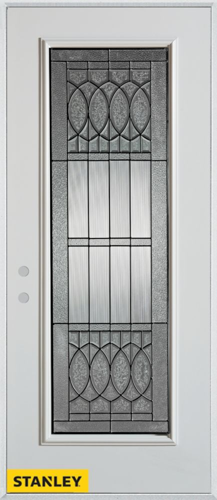 32-inch x 80-inch Nightingale Patina Full Lite White Steel Entry Door with Right Inswing