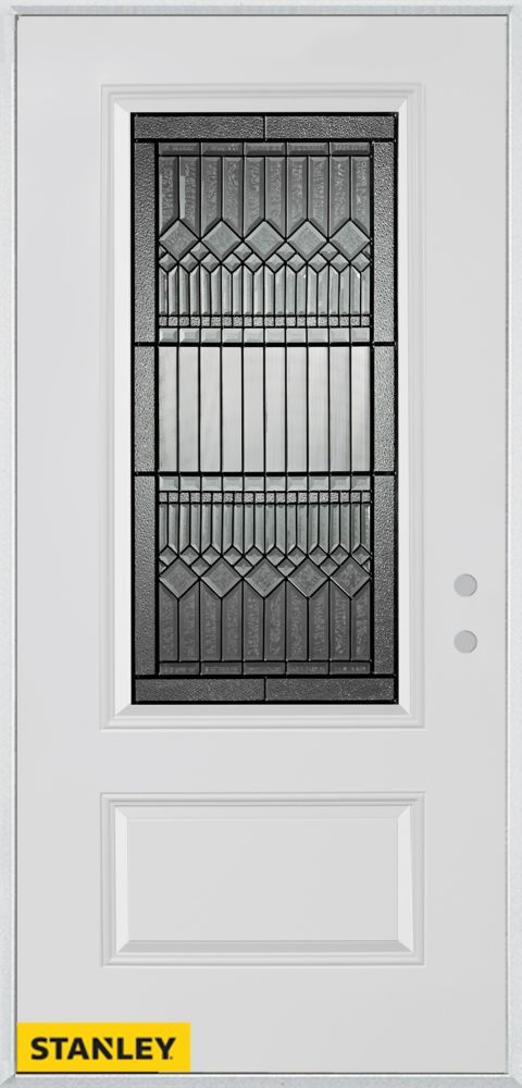 34-inch x 80-inch Lanza 3/4-Lite Patina 1-Panel White Steel Entry Door with Left Inswing
