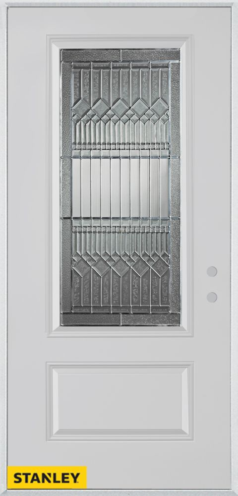 36-inch x 80-inch Lanza 3/4-Lite Zinc 1-Panel White Steel Entry Door with Left Inswing