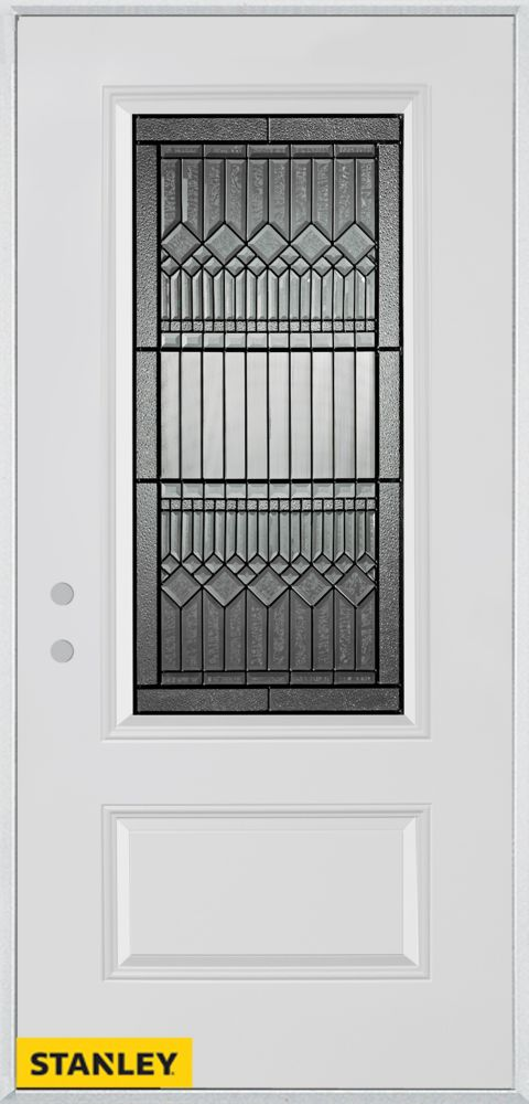 36-inch x 80-inch Lanza 3/4-Lite Patina 1-Panel White Steel Entry Door with Right Inswing