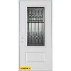 Stanley Doors 37.375 inch x 82.375 inch Lanza Patina 3/4 Lite 1-Panel Prefinished White Right-Hand Inswing Steel Prehung Front Door - ENERGY STAR®