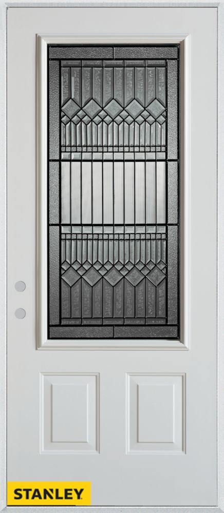 34-inch x 80-inch Lanza 3/4-Lite Patina 2-Panel White Steel Entry Door with Right Inswing