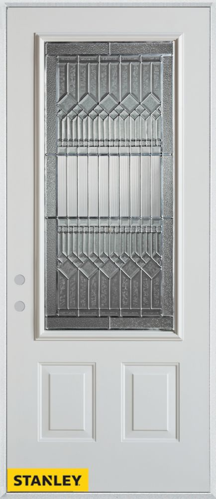 35.375 inch x 82.375 inch Lanza Zinc 3/4 Lite 2-Panel Prefinished White Right-Hand Inswing Steel Prehung Front Door - ENERGY STAR®