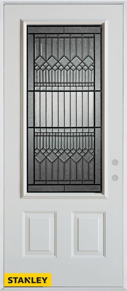 Stanley Doors 37.375 inch x 82.375 inch Lanza Patina 3/4 Lite 2-Panel Prefinished White Left-Hand Inswing Steel Prehung Front Door - ENERGY STAR®