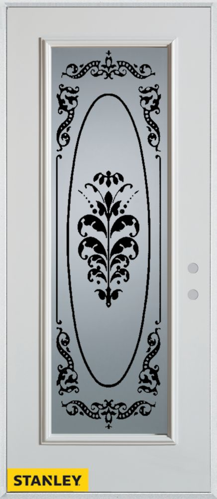34-inch x 80-inch Silkscreened Full Lite White Steel Entry Door with Left Inswing