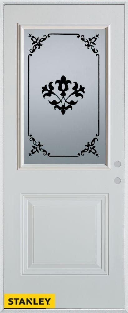 33.375 inch x 82.375 inch Renoir 1/2 Lite 1-Panel Prefinished White Left-Hand Inswing Steel Prehung Front Door - ENERGY STAR®