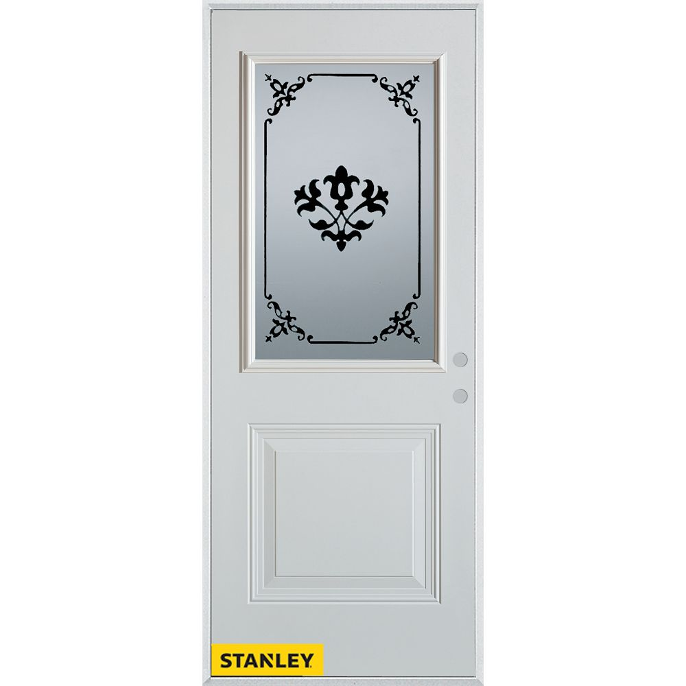 STANLEY Doors 33.375 inch x 82.375 inch Renoir 1/2 Lite 1-Panel Prefinished White Left-Hand Inswing Steel Prehung Front Door - ENERGY STAR®