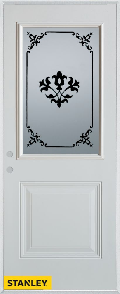 Stanley Doors 33.375 inch x 82.375 inch Renoir 1/2 Lite 1-Panel Prefinished White Right-Hand Inswing Steel Prehung Front Door - ENERGY STAR®