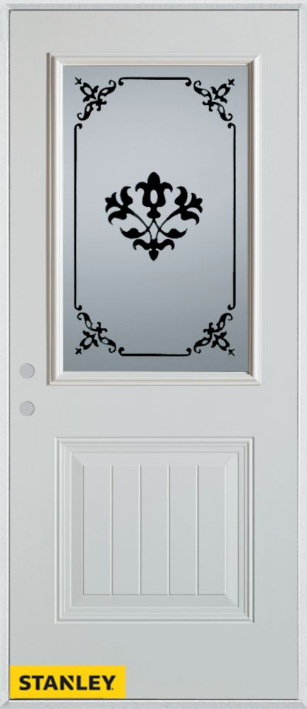 32-inch x 80-inch Silkscreened 1/2-Lite 1-Panel White Steel Entry Door with Right Inswing
